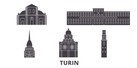 Italy, Turin flat travel skyline set. Italy, Turin black city vector panorama, illustration, travel sights, landmarks, streets.