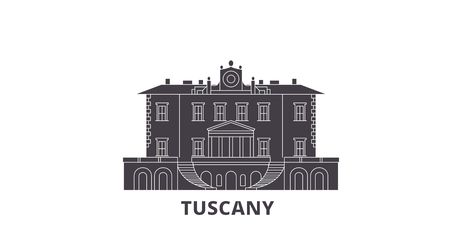 Italy, Tuscany, Medici Villas And Gardens flat travel skyline set. Italy, Tuscany, Medici Villas And Gardens black city vector panorama, illustration, travel sights, landmarks, streets.  イラスト・ベクター素材