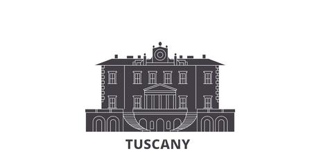L'Italie, la Toscane, les Villas et les jardins des Médicis, l'ensemble d'horizon de voyage à plat. Italie, Toscane, Medici Villas And Gardens panorama vectoriel de la ville noire, illustration, sites touristiques, monuments, rues. Vecteurs