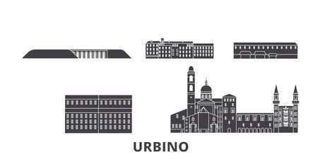 Italy, Urbino flat travel skyline set. Italy, Urbino black city vector panorama, illustration, travel sights, landmarks, streets.
