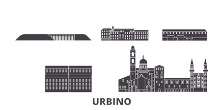 Italy, Urbino flat travel skyline set. Italy, Urbino black city vector panorama, illustration, travel sights, landmarks, streets.