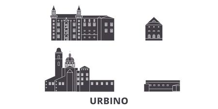 Italy, Urbino City flat travel skyline set. Italy, Urbino City black city vector panorama, illustration, travel sights, landmarks, streets.