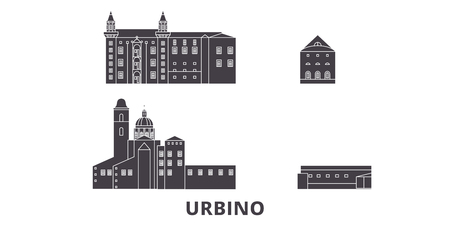 Italy, Urbino City flat travel skyline set. Italy, Urbino City black city vector panorama, illustration, travel sights, landmarks, streets.