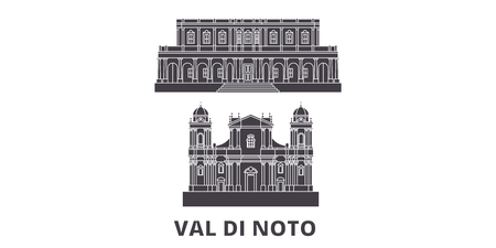 Italy, Val Di Noto flat travel skyline set. Italy, Val Di Noto black city vector panorama, illustration, travel sights, landmarks, streets.