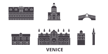 Italy, Venice flat travel skyline set. Italy, Venice black city vector panorama, illustration, travel sights, landmarks, streets.  イラスト・ベクター素材
