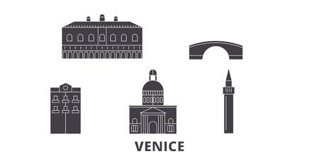 Italy, Venice City flat travel skyline set. Italy, Venice City black city vector panorama, illustration, travel sights, landmarks, streets.