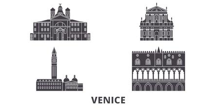 Italy, Venice Landmark flat travel skyline set. Italy, Venice Landmark black city vector panorama, illustration, travel sights, landmarks, streets.