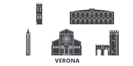 Italy, Verona flat travel skyline set. Italy, Verona black city vector panorama, illustration, travel sights, landmarks, streets.
