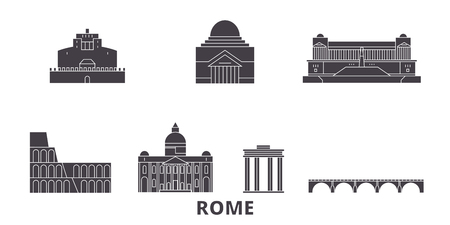 Italy, Rome City flat travel skyline set. Italy, Rome City black city vector panorama, illustration, travel sights, landmarks, streets.