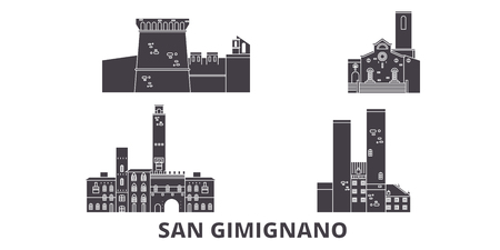 Italy, San Gimignano flat travel skyline set. Italy, San Gimignano black city vector panorama, illustration, travel sights, landmarks, streets. Çizim