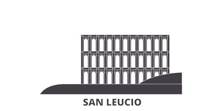 Italy, San Leucio flat travel skyline set. Italy, San Leucio black city vector panorama, illustration, travel sights, landmarks, streets.