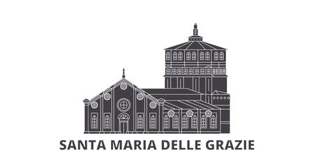 L'Italia, set di skyline da viaggio piatto di Santa Maria Delle Grazie. L'Italia, Santa Maria Delle Grazie città nera panorama vettoriale, illustrazione, siti di viaggi, punti di riferimento, strade. Vettoriali