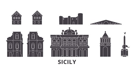 Italy, Sicily flat travel skyline set. Italy, Sicily black city vector panorama, illustration, travel sights, landmarks, streets.