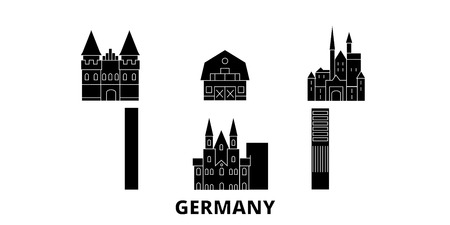 Germany flat travel skyline set. Germany black city vector panorama, illustration, travel sights, landmarks, streets.