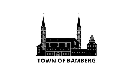 Germany, Bamberg flat travel skyline set. Germany, Bamberg black city vector panorama, illustration, travel sights, landmarks, streets.  イラスト・ベクター素材