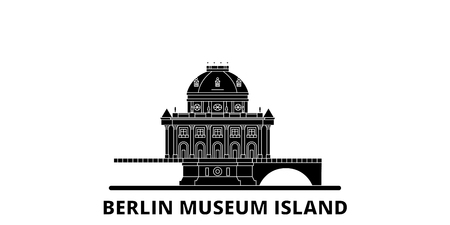 Germany, Berlin, Museum Island flat travel skyline set. Germany, Berlin, Museum Island black city vector panorama, illustration, travel sights, landmarks, streets.