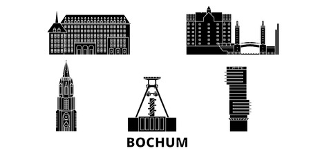 Germany, Bochum flat travel skyline set. Germany, Bochum black city vector panorama, illustration, travel sights, landmarks, streets.