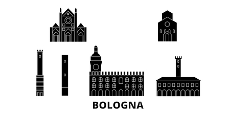 Italy, Bologna flat travel skyline set. Italy, Bologna black city vector panorama, illustration, travel sights, landmarks, streets.