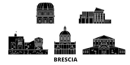 Italy, Brescia flat travel skyline set. Italy, Brescia black city vector panorama, illustration, travel sights, landmarks, streets.