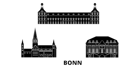 Germany, Bonn flat travel skyline set. Germany, Bonn black city vector panorama, illustration, travel sights, landmarks, streets.