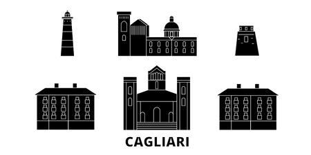 Italy, Cagliari flat travel skyline set. Italy, Cagliari black city vector panorama, illustration, travel sights, landmarks, streets. Çizim