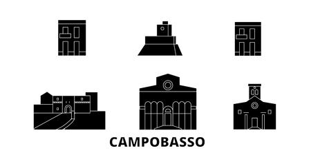 Italia, Campobasso plano horizonte de viaje. Italia, panorama de vector de la ciudad negra de Campobasso, ilustración, lugares turísticos, monumentos, calles. Ilustración de vector