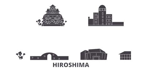 Japan, Hiroshima flat travel skyline set. Japan, Hiroshima black city vector panorama, illustration, travel sights, landmarks, streets.