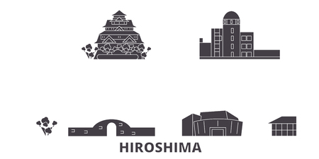 Japan, Hiroshima flat travel skyline set. Japan, Hiroshima black city vector panorama, illustration, travel sights, landmarks, streets.