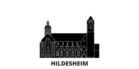 Germany, Hildesheim flat travel skyline set. Germany, Hildesheim black city vector panorama, illustration, travel sights, landmarks, streets. 일러스트