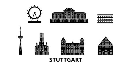 Germania, set di skyline da viaggio piatto di Stoccarda. Germania, Stoccarda città nera panorama vettoriale, illustrazione, siti di viaggi, punti di riferimento, strade.