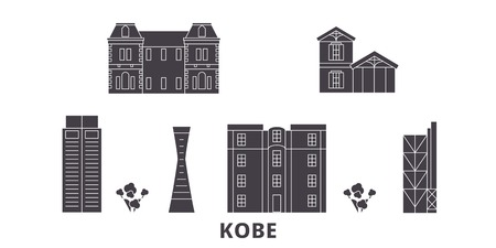 Japan, Kobe flat travel skyline set. Japan, Kobe black city vector panorama, illustration, travel sights, landmarks, streets.