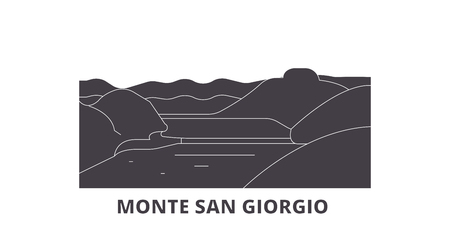 Italy, Monte San Giorgio  flat travel skyline set. Italy, Monte San Giorgio  black city vector panorama, illustration, travel sights, landmarks, streets. Ilustrace