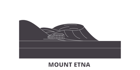Italy, Mount Etna  flat travel skyline set. Italy, Mount Etna  black city vector panorama, illustration, travel sights, landmarks, streets.