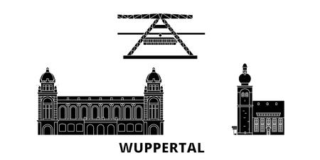 Germany, Wuppertal flat travel skyline set. Germany, Wuppertal black city vector panorama, illustration, travel sights, landmarks, streets.