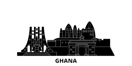Ghana flat travel skyline set. Ghana black city vector panorama, illustration, travel sights, landmarks, streets.