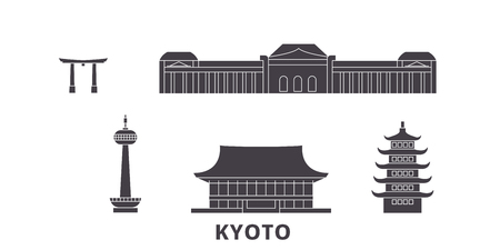 Japan, Kyoto flat travel skyline set. Japan, Kyoto black city vector panorama, illustration, travel sights, landmarks, streets.