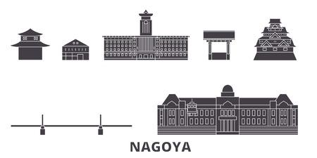 Japón, Nagoya plano horizonte de viaje. Japón, panorama de vector de ciudad negra de Nagoya, ilustración, lugares turísticos, monumentos, calles.
