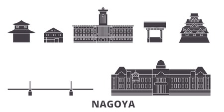 Japan, Nagoya flat travel skyline set. Japan, Nagoya black city vector panorama, illustration, travel sights, landmarks, streets.