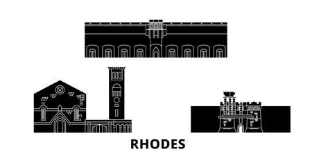 Greece, Rhodes flat travel skyline set. Greece, Rhodes black city vector panorama, illustration, travel sights, landmarks, streets. Çizim