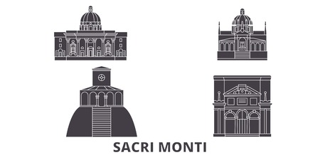 Italy, Piedmont And Lombardy, Sacri Monti flat travel skyline set. Italy, Piedmont And Lombardy, Sacri Monti black city vector panorama, illustration, travel sights, landmarks, streets.