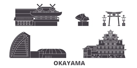 Japan, Okayama flat travel skyline set. Japan, Okayama black city vector panorama, illustration, travel sights, landmarks, streets.