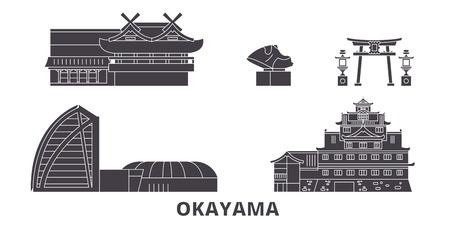 Japan, Okayama flat travel skyline set. Japan, Okayama black city vector panorama, illustration, travel sights, landmarks, streets.
