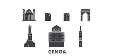 Italy, Genoa flat travel skyline set. Italy, Genoa black city vector panorama, illustration, travel sights, landmarks, streets.