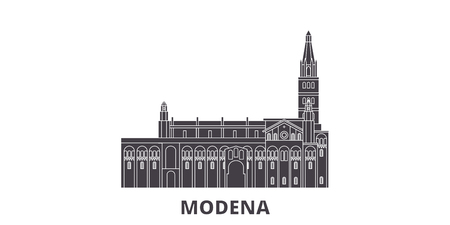 Italy, Modena flat travel skyline set. Italy, Modena black city vector panorama, illustration, travel sights, landmarks, streets. Illustration