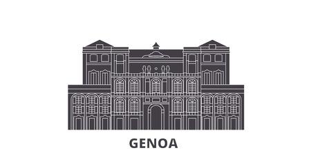 Italy, Genoa City flat travel skyline set. Italy, Genoa City black city vector panorama, illustration, travel sights, landmarks, streets. Stock Illustratie