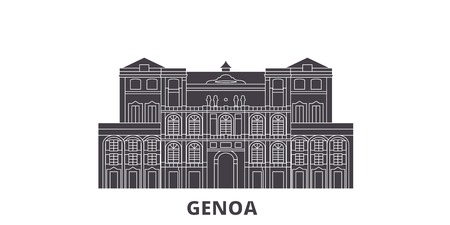 Italy, Genoa City flat travel skyline set. Italy, Genoa City black city vector panorama, illustration, travel sights, landmarks, streets. Illustration