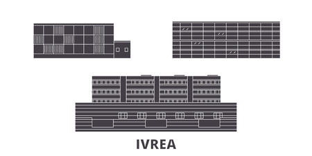 Italy, Ivrea flat travel skyline set. Italy, Ivrea black city vector panorama, illustration, travel sights, landmarks, streets. Banco de Imagens - 120690742