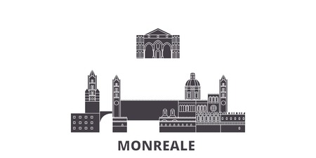 Italy, Monreale flat travel skyline set. Italy, Monreale black city vector panorama, illustration, travel sights, landmarks, streets.