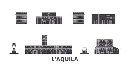 Italy, Laquila flat travel skyline set. Italy, Laquila black city vector panorama, illustration, travel sights, landmarks, streets.
