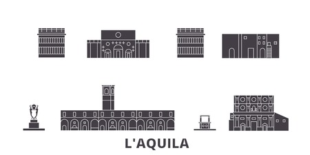 Italy, Laquila flat travel skyline set. Italy, Laquila black city vector panorama, illustration, travel sights, landmarks, streets.